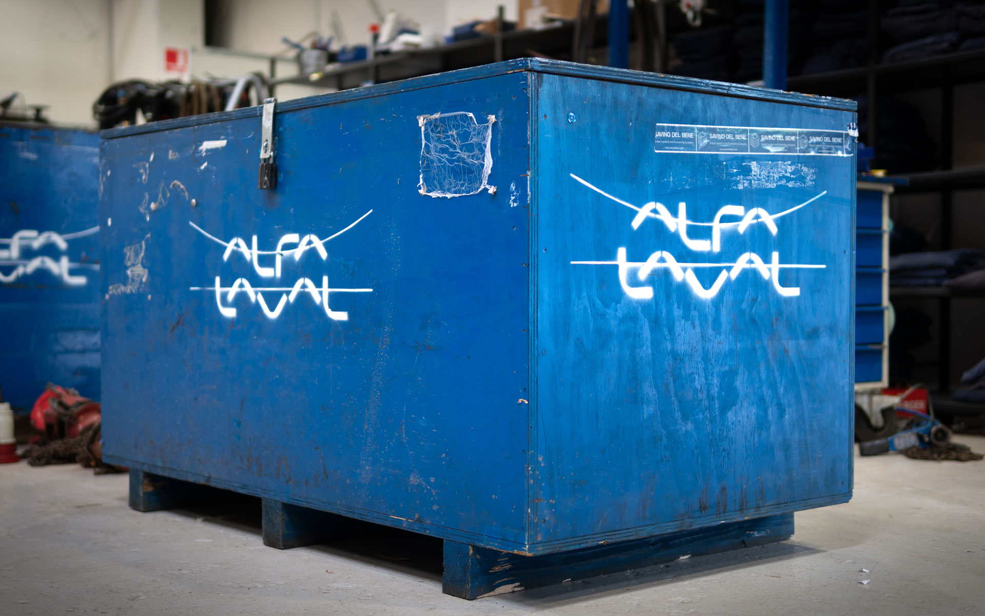 Alfa Laval crate with Omega Yard inside